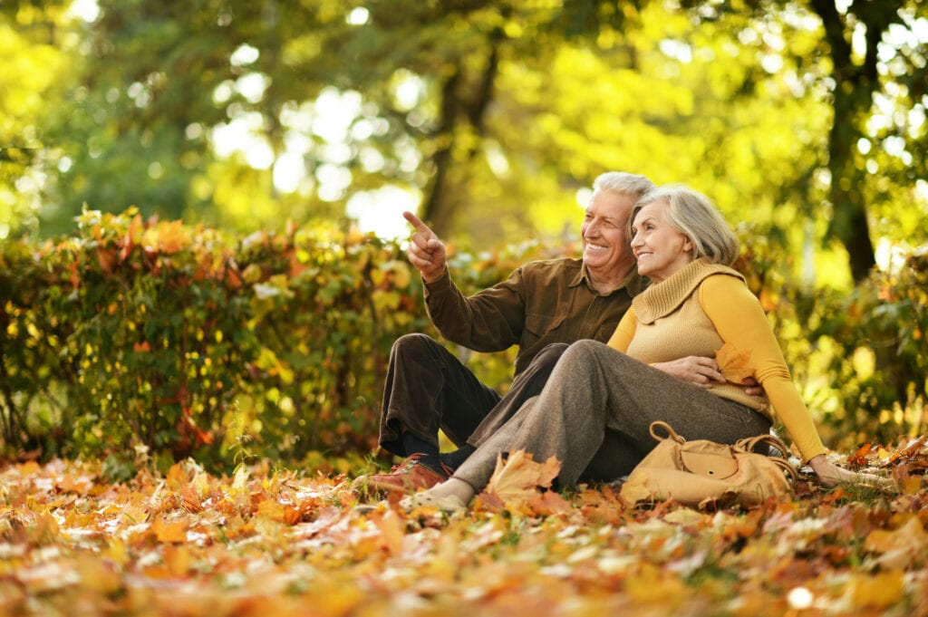 mature couple in autumn